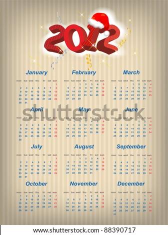 Vector Santa calendar 2012 year (week starts on Monday) - stock vector