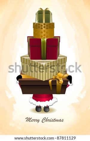 Vector Santa Claus holding many Christmas  shopping gift boxes - stock vector