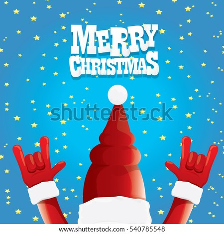 Vector Santa Claus Rock N Roll Style Merry Christmas Rock N Roll Party Poster Design