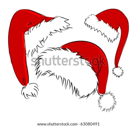 vector santa hats - stock vector