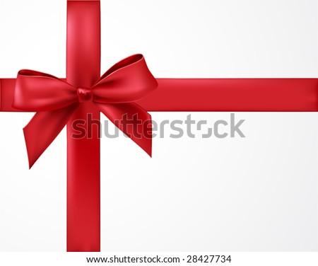 vector satin ribbon tied in a bow - stock vector