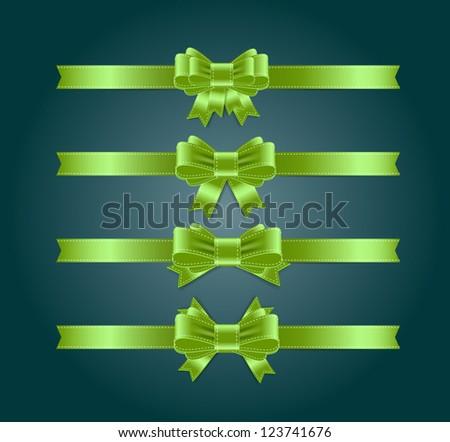 Vector satin ribbons and bow knots collection - green - stock vector