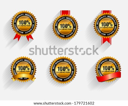 Vector 100% Satisfaction  Gold Label Set with Red Ribbon. - stock vector