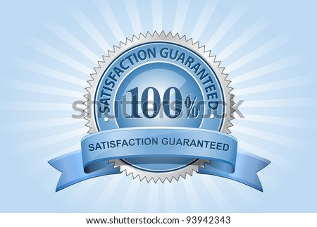 Vector Satisfaction Guaranteed Sign on Blue Background - stock vector
