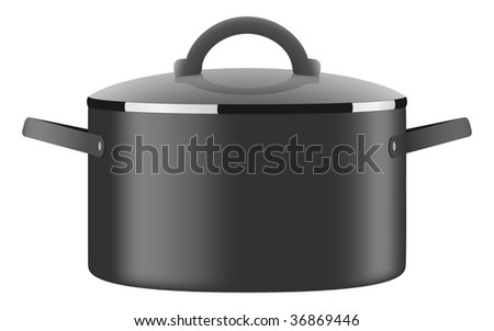 Vector saucepan. Black and shiny casserole with lid. - stock vector