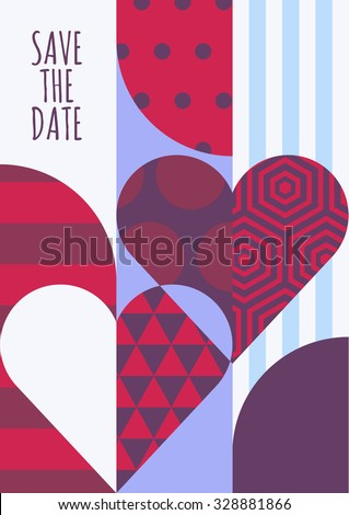 Vector save the date greeting card. Hearts with geometric pattern, abstract romantic background. Modern concept for wedding, Valentines day, party invitation. Flyer, banner, poster design template. - stock vector