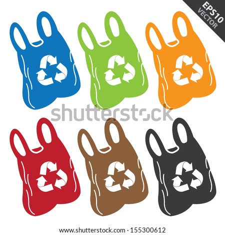 Vector : Save The Earth, Stop Global Warming or Recycle Concept Present By Colorful Plastic Bag With Recycle Sign Inside Isolated on White Background  - stock vector