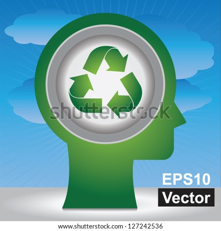 Vector : Save The Earth, Stop Global Warming Or Recycle Concept Present By Head With Green Recycle Sign Inside in Blue Sky Background - stock vector