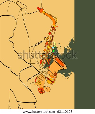 vector saxophone and musical person - stock vector