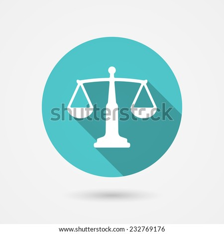 Vector scales balance icon in flat style. White silhouette of Libra into green circle - stock vector