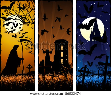 Vector Scary Halloween Banners with Crow and Bats and Grim Reaper