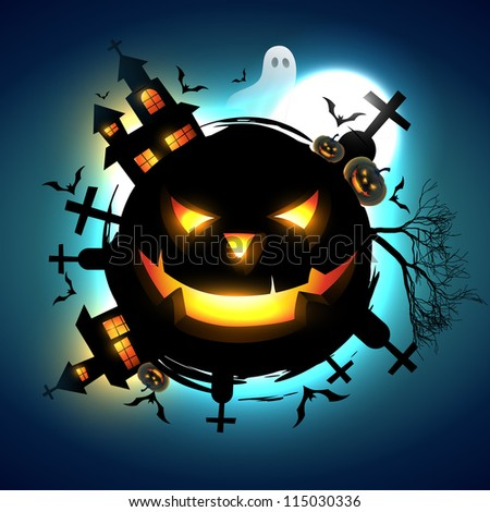 vector scary halloween design illustration - stock vector