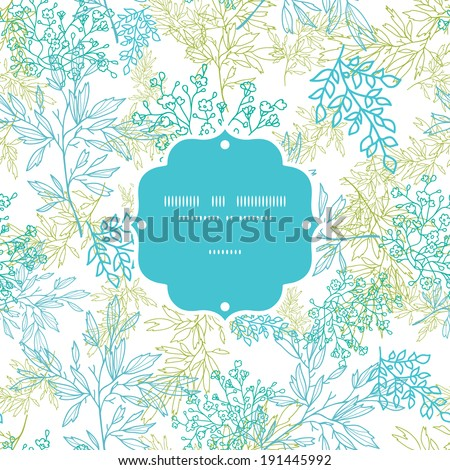 Vector scattered blue green branches frame seamless pattern background with hand drawn elements - stock vector