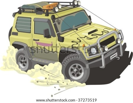 vector scene of car for rally - stock vector