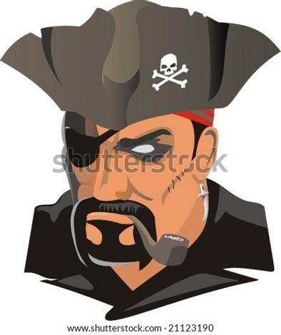 vector scene of the pirate smoking tube