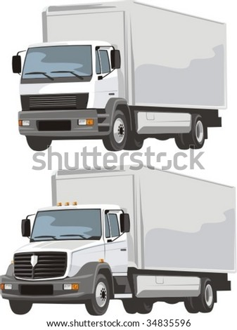 vector scene of two delivery lorry - stock vector