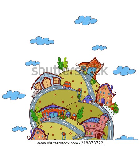 Vector scene with cartoon houses - stock vector