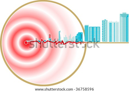 Vector Schematic Representation Of Earthquake Epicenter - stock vector