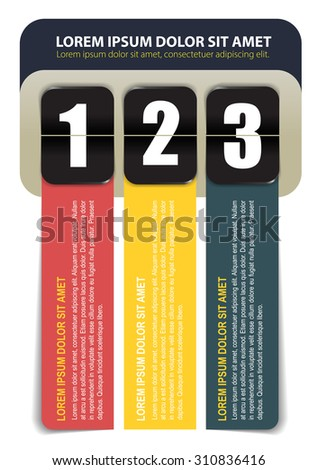 Vector scheme of three steps with number and with colored tapes for text - stock vector