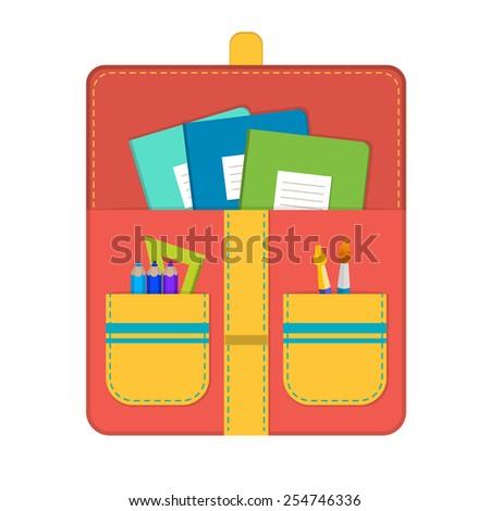 Vector school bag with school supplies - stock vector