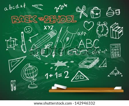 vector school blackboard illustration full of chalk doodles - stock vector