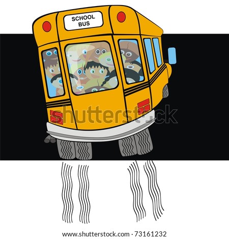 VECTOR - School Bus from Back Side with Kindergarten student - Going on a Journey - Tire Print - Funny Cartoon Character - Active Kids - stock vector