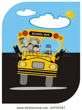 VECTOR - School Bus with Driver & Kindergarten Happy Students Boys & Girls - going on a Journey in Summer - Sunny Weather with few Clouds - Funny Cartoon Character - Active Kids - stock vector