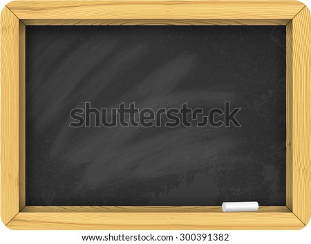 Vector school chalk board with chalk. Chalk board background texture with frame. Teaching in school concept. Chalk board realistic vector template. Welcome back to school