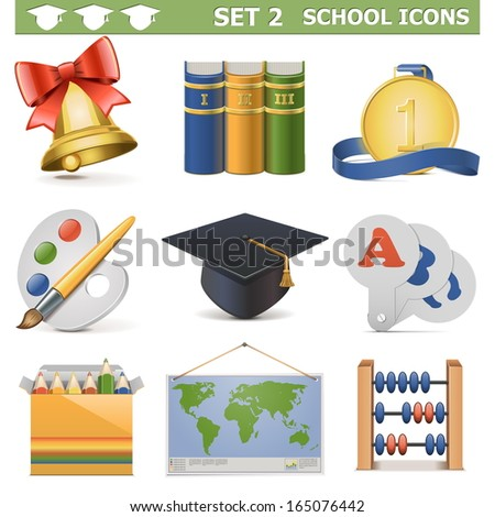 Vector School Icons Set 2 - stock vector