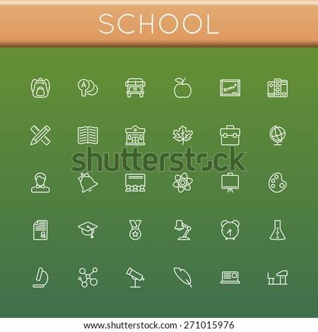 Vector School Line Icons - stock vector