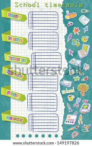 vector school timetable. Table with pointers on weekdays. Background of watercolor stationery. - stock vector