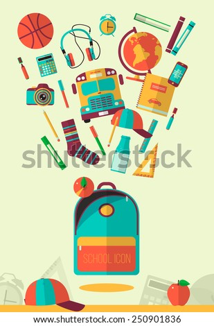 Vector school workspace illustration. Education and school icons set. Flat style, long shadows. High school object, college items. Back to school. Creative banner, card with flying teenager objects.  - stock vector