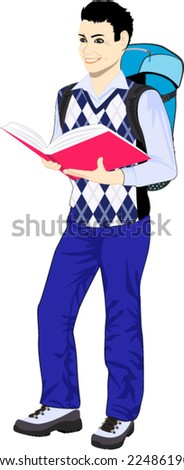 vector schoolboy wearing backpack and holding book - stock vector