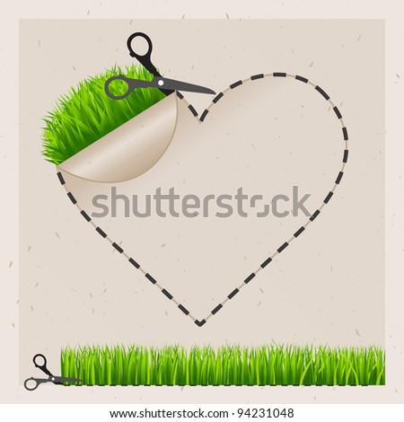 Vector scissors cut heart sticker. Green grass. Old paper - stock vector