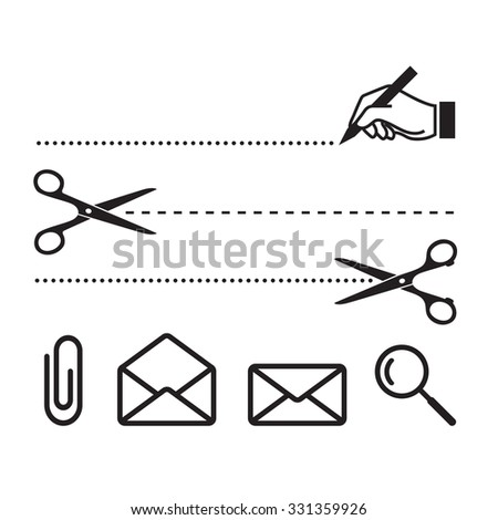 Vector scissors cut lines and icons for notebook, form or worksheet. Search, cut, write, letters and clip - stock vector