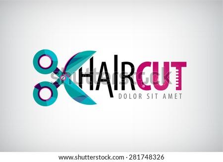 vector scissors logo, icon, hair cut logo, icon isolated. Hair salon - stock vector