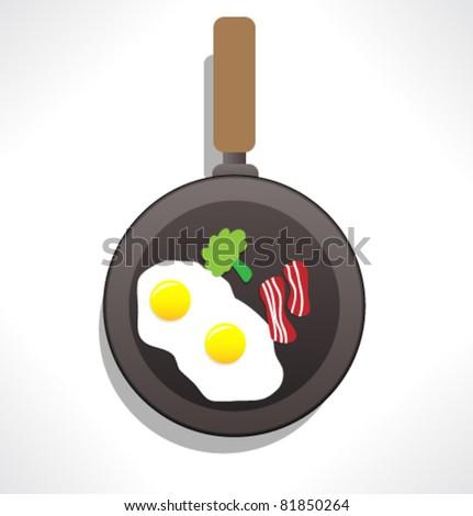 Vector scrambled eggs in skillet - stock vector