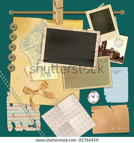 Vector scrapbook details set - stock vector