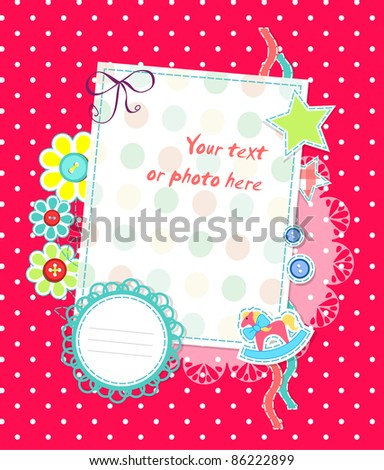 Vector scrapbooking card for baby pink dots - stock vector