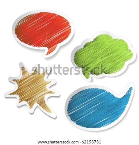 Vector scratch speech bubble stickers - stock vector