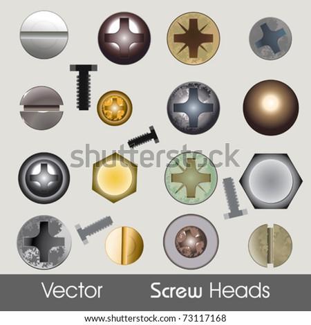 Vector Screw Heads - stock vector