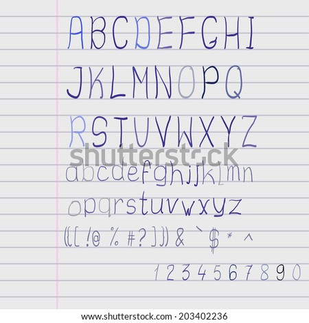 Vector scribble alphabet on a exercise book sheet r scribble alphabet on a exercise book sheet - stock vector
