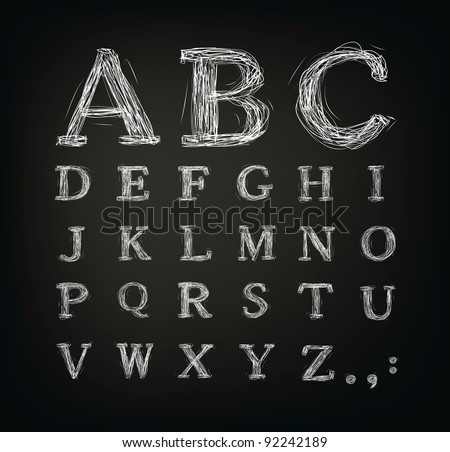 Vector scribbled alphabet in a black board - stock vector