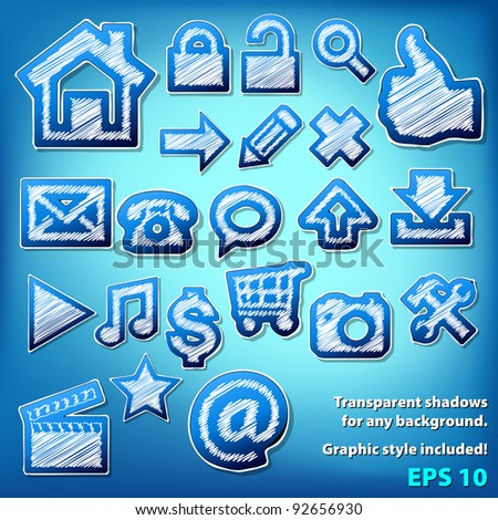 Vector scribbled grungy icons. Graphic style included.