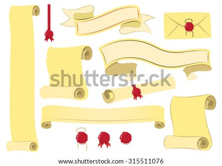 Vector scroll and parchment banners - stock vector