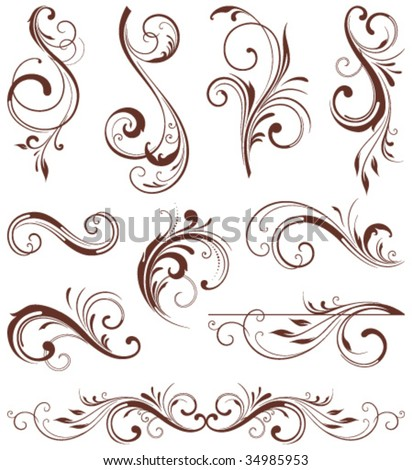 Vector Scroll Design. Elements can be ungrouped for easy editing.