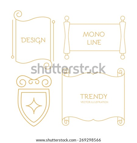 Vector scroll set in line style - stock vector