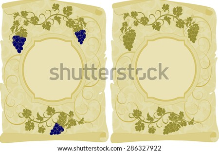 Vector scroll with grunge texture and vines. - stock vector