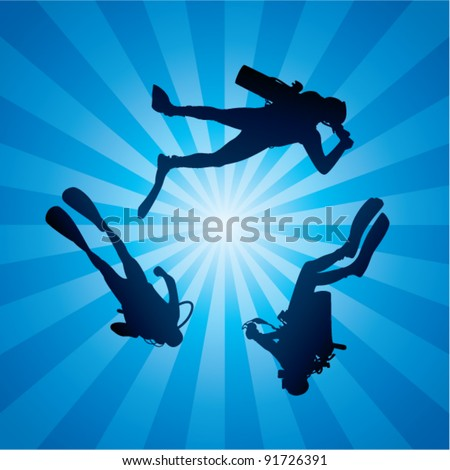 vector scuba divers underwater and rays of light - stock vector