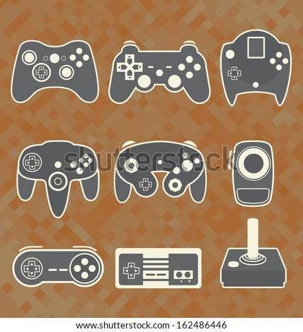Vector Se: Retro Video Game Controllers - stock vector